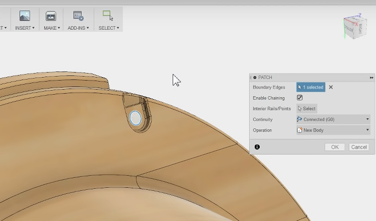 Fusion 360 Patch Tool