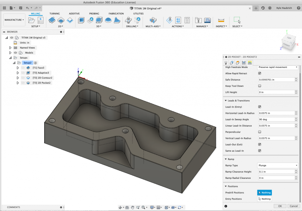 Linking Tab 2D Pocket Fusion 360